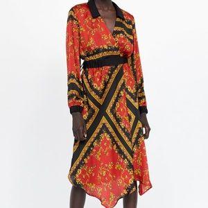 Zara print dress with asymmetric hem
